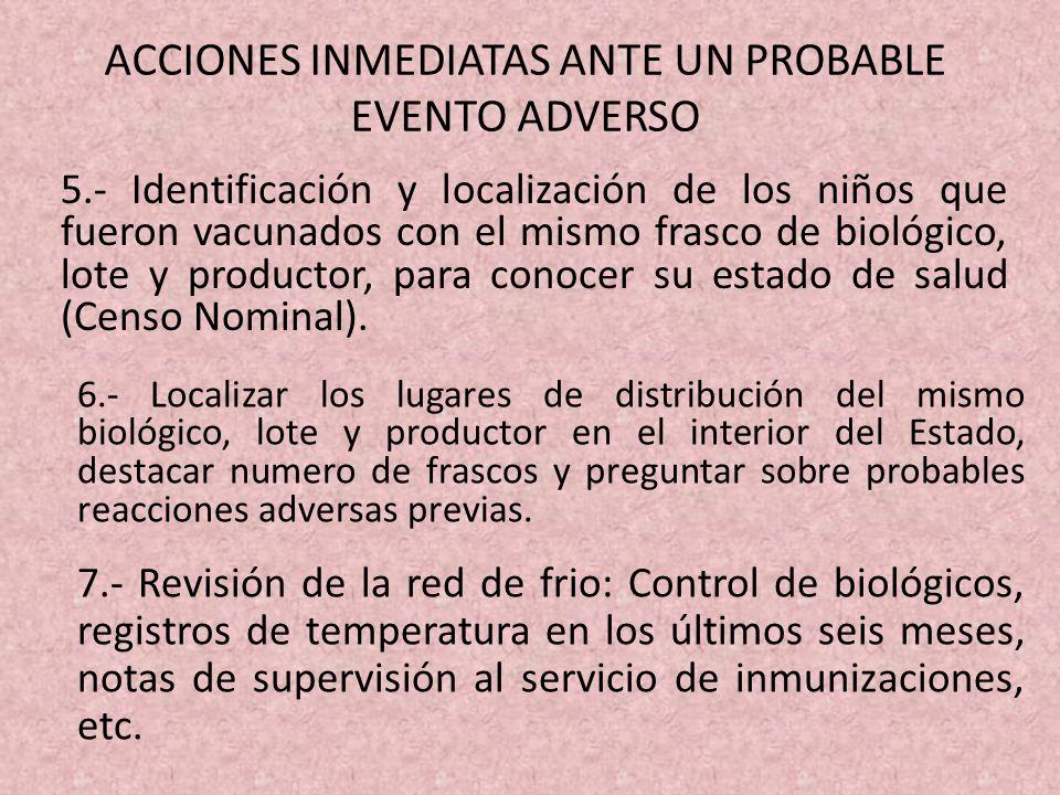ACCIONES INMEDIATAS ANTE UN PROBABLE EVENTO ADVERSO