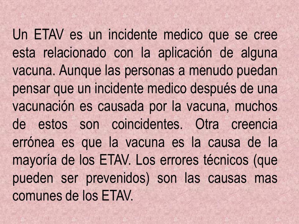 Un ETAV es un incidente medico que se cree esta relacionado con la aplicación de alguna vacuna.