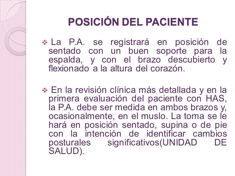 POSICIÓN DEL PACIENTE