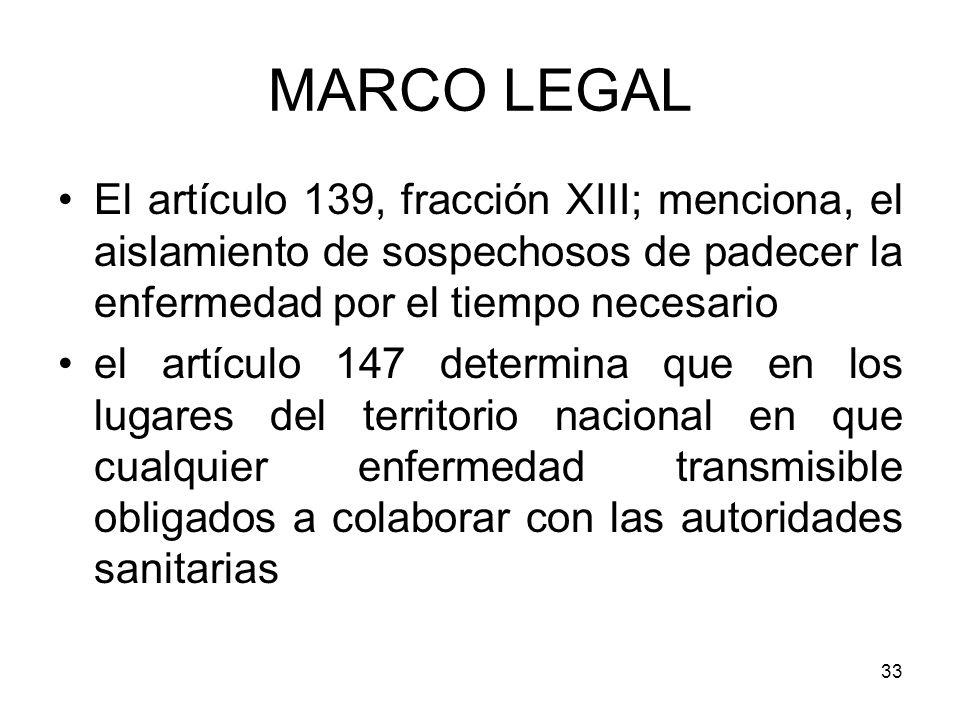 MARCO LEGAL El artículo 139, fracción XIII; menciona, el aislamiento de sospechosos de padecer la enfermedad por el tiempo necesario.