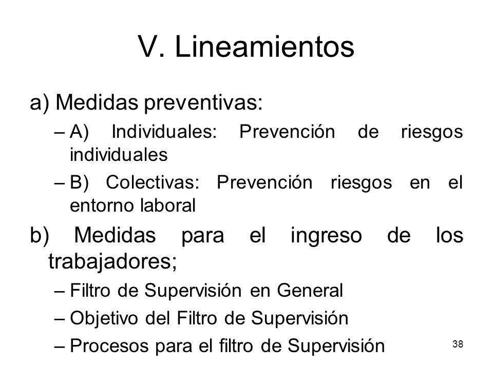 V. Lineamientos a) Medidas preventivas:
