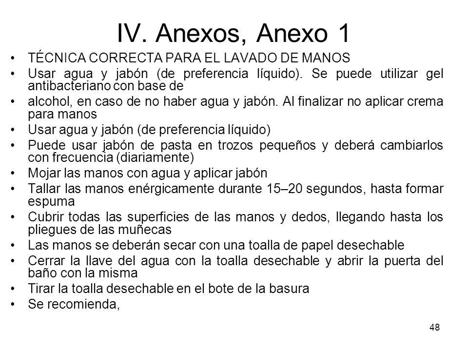 IV. Anexos, Anexo 1 TÉCNICA CORRECTA PARA EL LAVADO DE MANOS