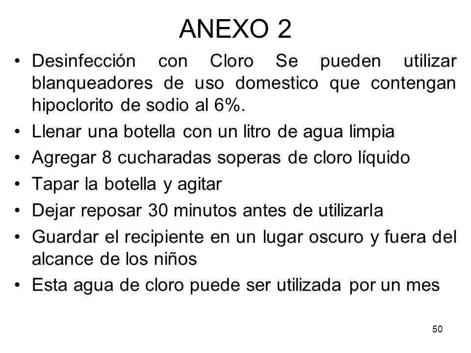 ANEXO 2Desinfección con Cloro Se pueden utilizar blanqueadores de uso domestico que contengan hipoclorito de sodio al 6%.