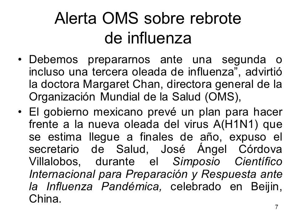 Alerta OMS sobre rebrote de influenza