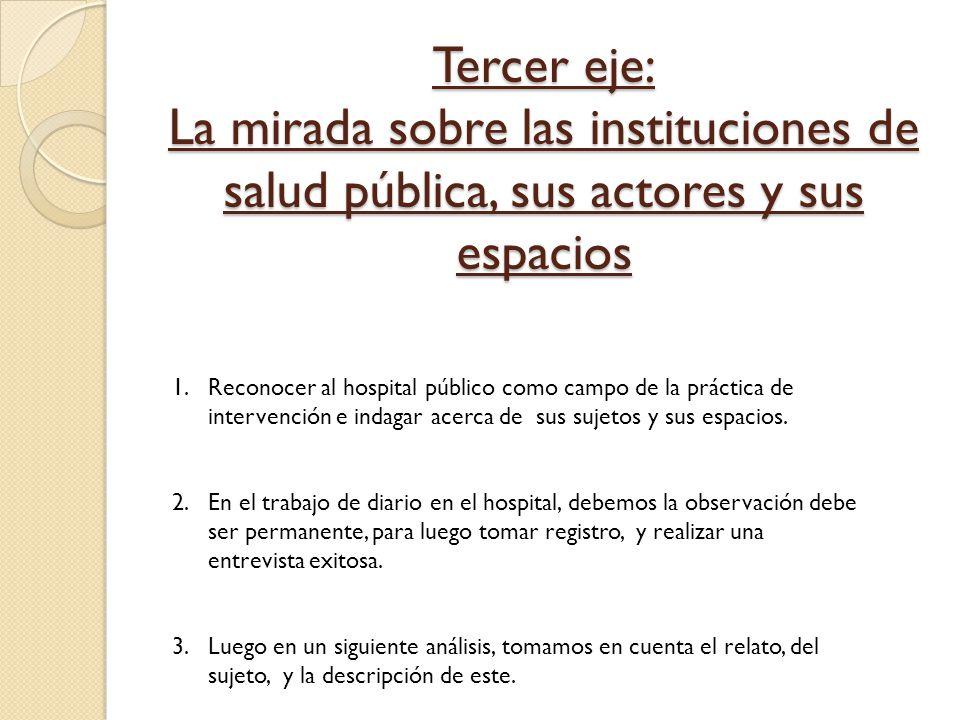 Tercer eje: La mirada sobre las instituciones de salud pública, sus actores y sus espacios