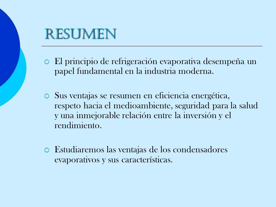 RESUMEN El principio de refrigeración evaporativa desempeña un papel fundamental en la industria moderna.