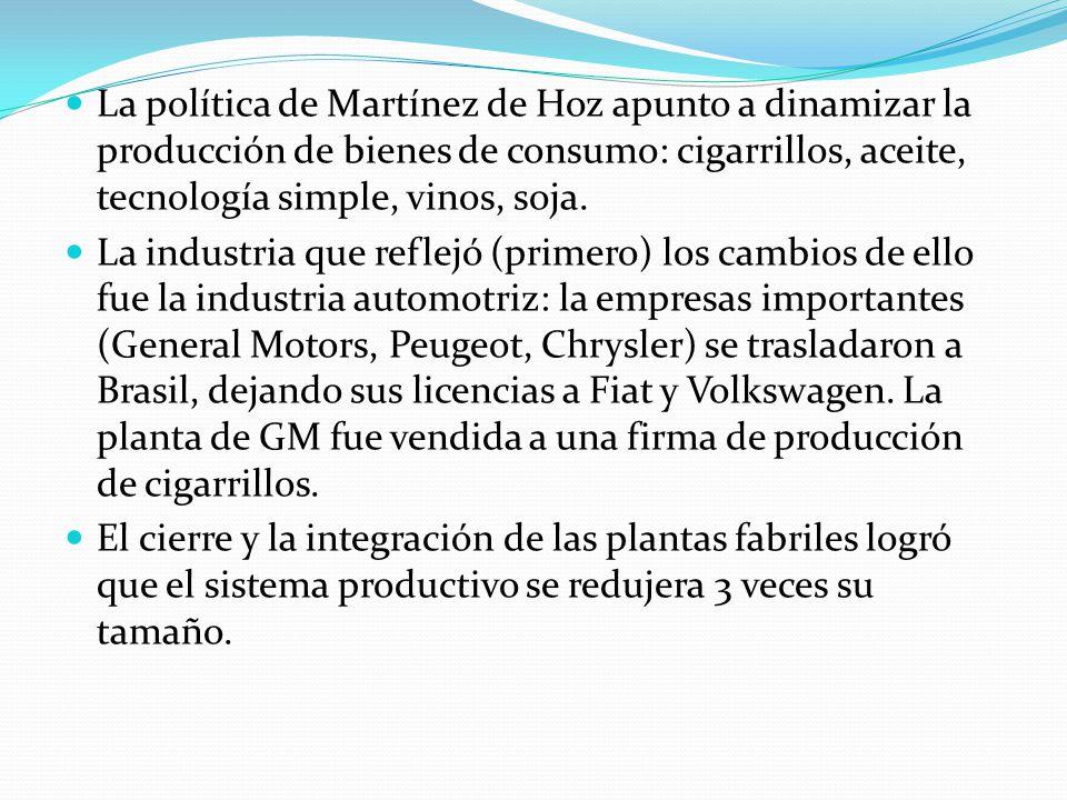 La política de Martínez de Hoz apunto a dinamizar la producción de bienes de consumo: cigarrillos, aceite, tecnología simple, vinos, soja.