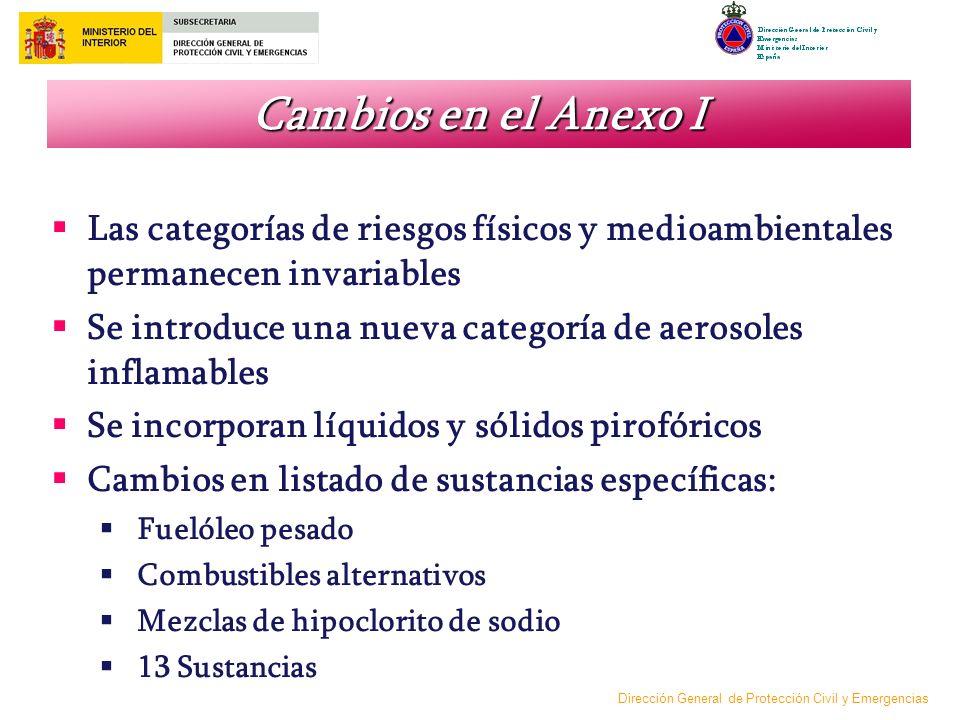 Cambios en el Anexo I Las categorías de riesgos físicos y medioambientales permanecen invariables.