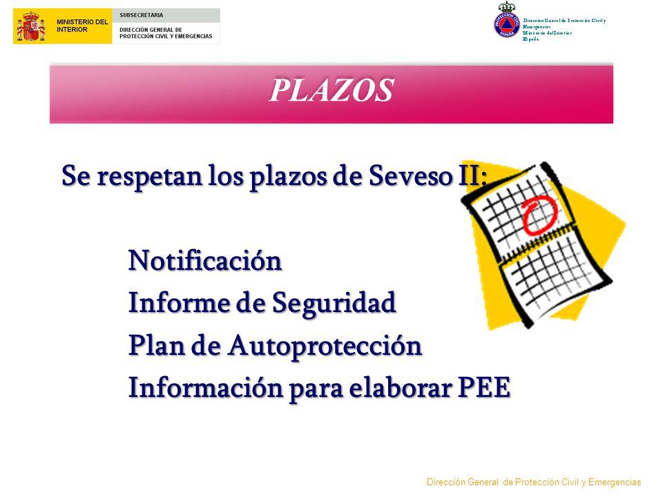 PLAZOS Se respetan los plazos de Seveso II: Notificación