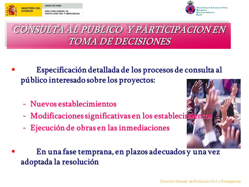 CONSULTA AL PUBLICO Y PARTICIPACION EN TOMA DE DECISIONES