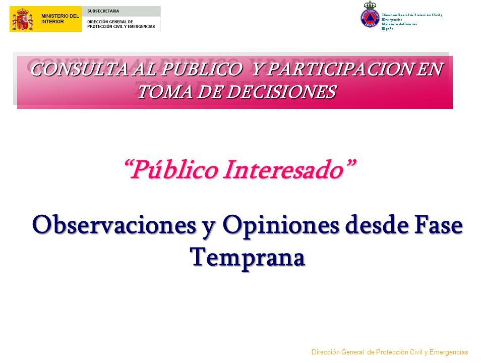 Público Interesado Observaciones y Opiniones desde Fase Temprana