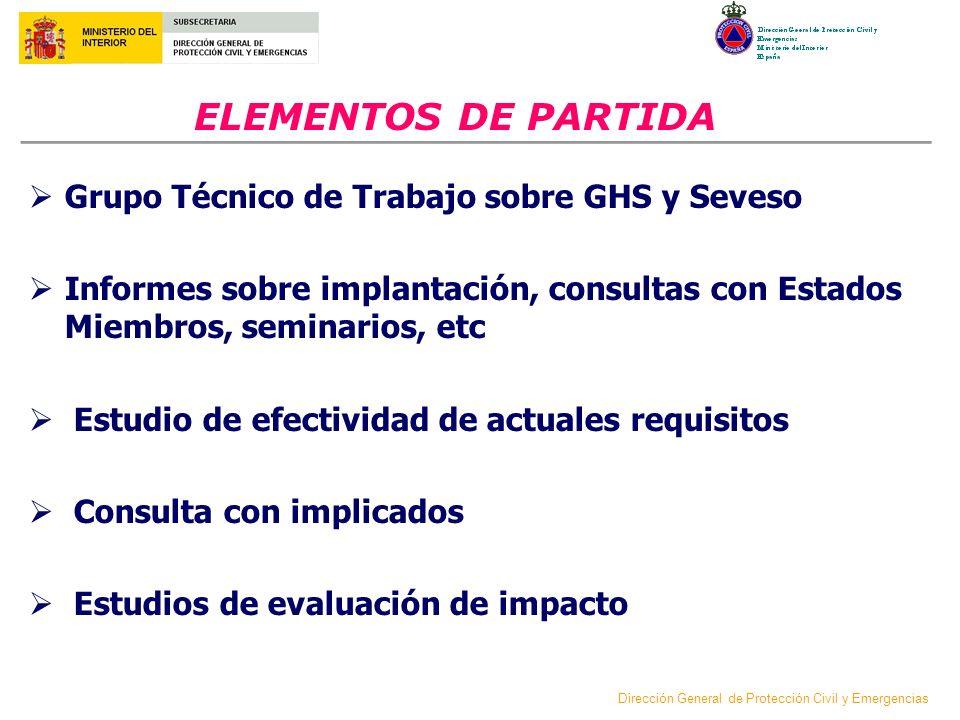 ELEMENTOS DE PARTIDA Grupo Técnico de Trabajo sobre GHS y Seveso