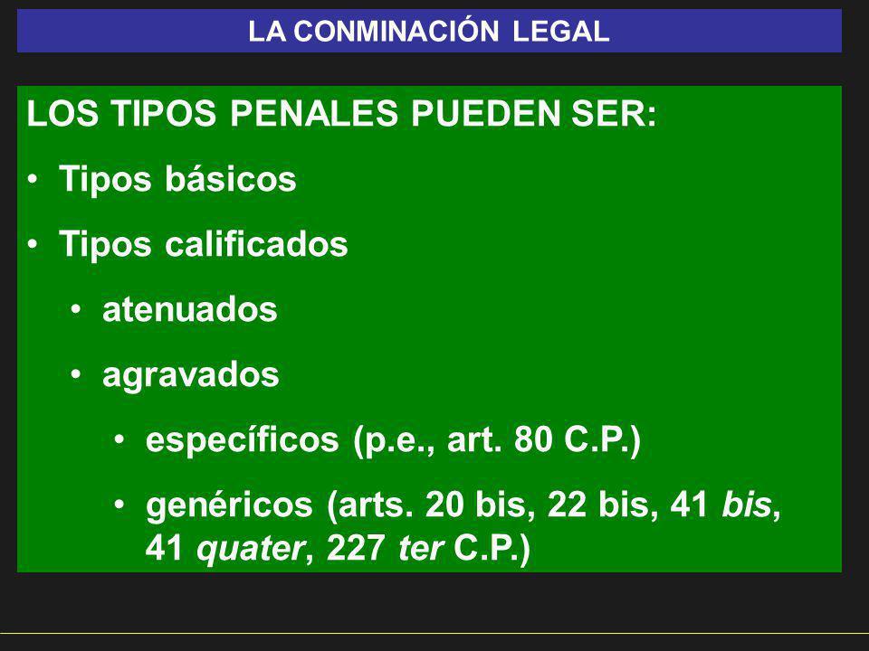 LOS TIPOS PENALES PUEDEN SER: Tipos básicos Tipos calificados