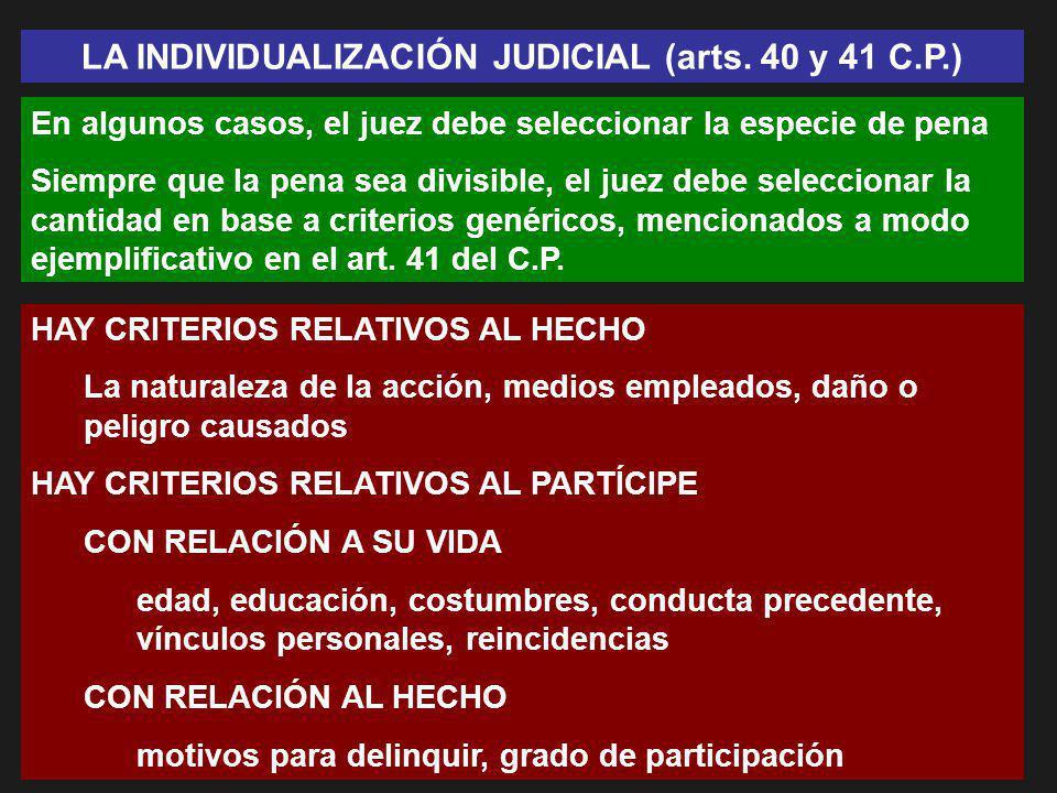 LA INDIVIDUALIZACIÓN JUDICIAL (arts. 40 y 41 C.P.)