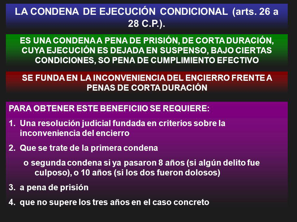 LA CONDENA DE EJECUCIÓN CONDICIONAL (arts. 26 a 28 C.P.).