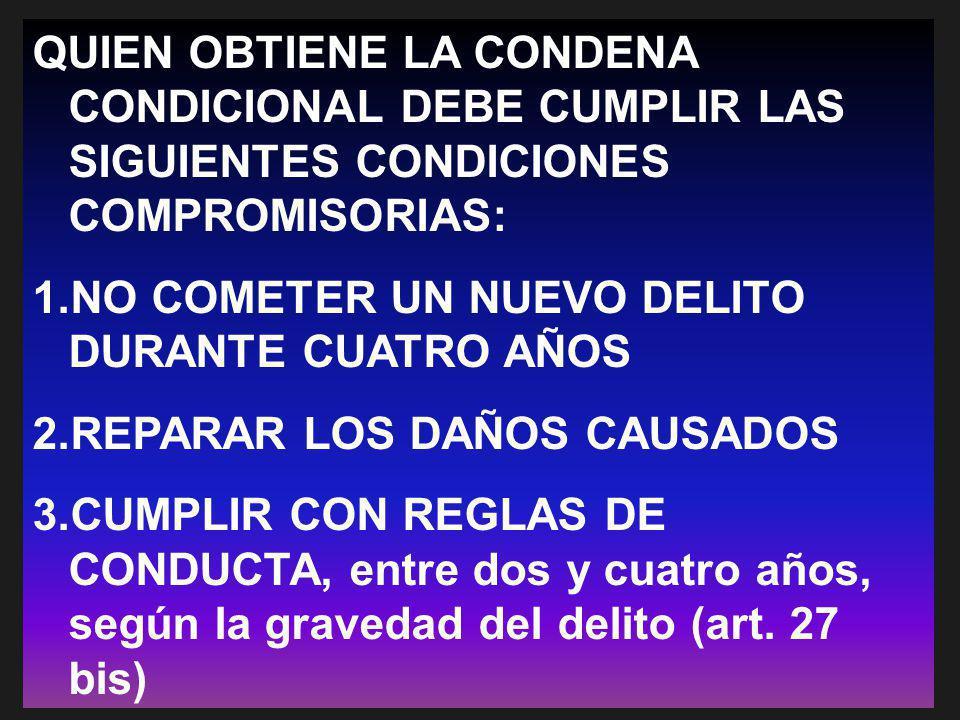QUIEN OBTIENE LA CONDENA CONDICIONAL DEBE CUMPLIR LAS SIGUIENTES CONDICIONES COMPROMISORIAS: