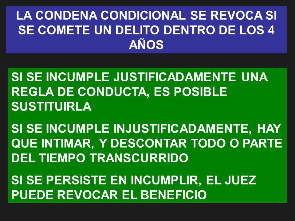 LA CONDENA CONDICIONAL SE REVOCA SI SE COMETE UN DELITO DENTRO DE LOS 4 AÑOS
