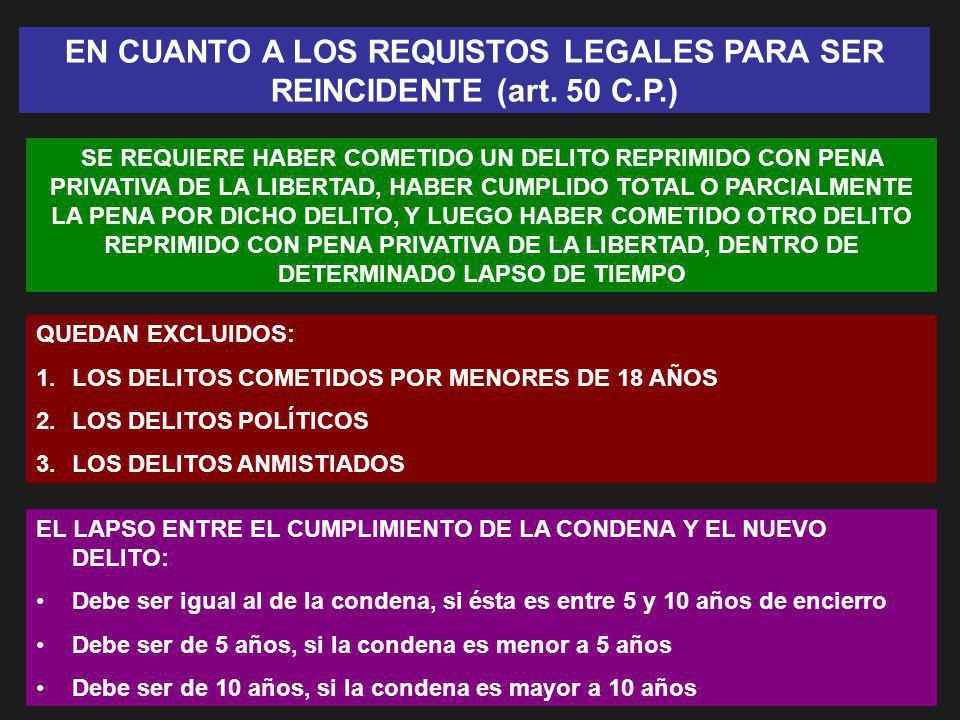 EN CUANTO A LOS REQUISTOS LEGALES PARA SER REINCIDENTE (art. 50 C.P.)