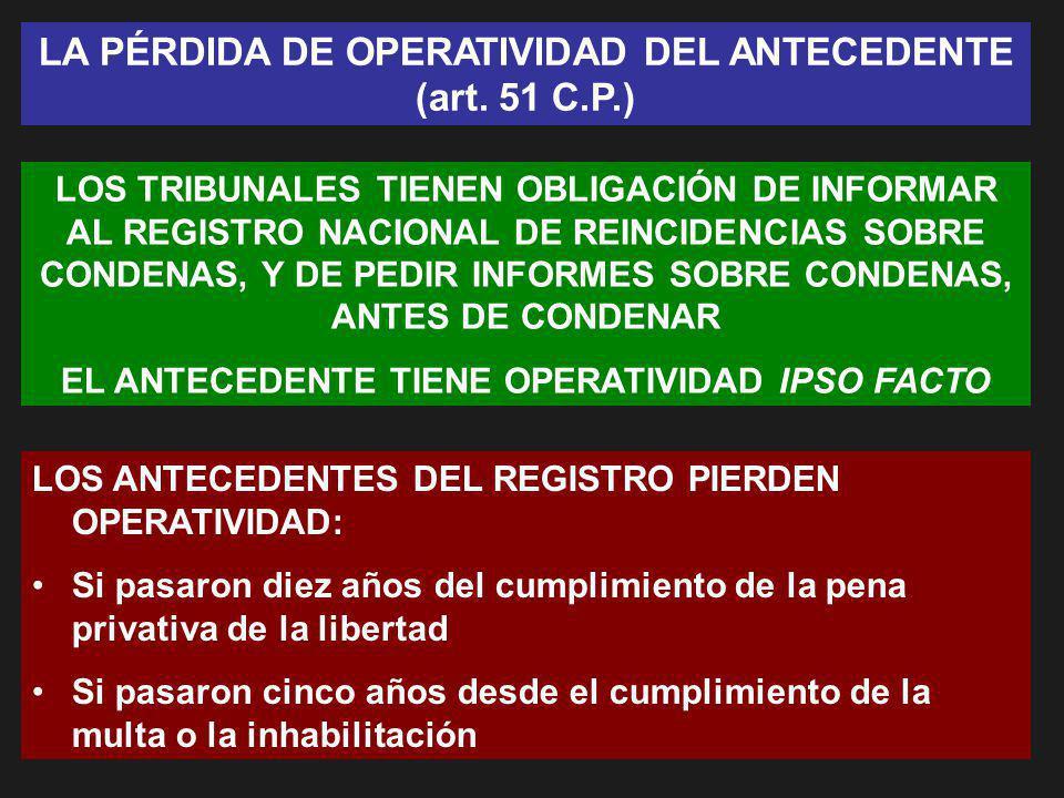 LA PÉRDIDA DE OPERATIVIDAD DEL ANTECEDENTE (art. 51 C.P.)