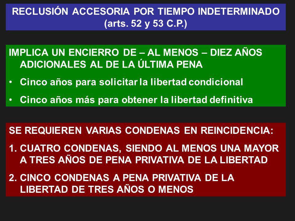 RECLUSIÓN ACCESORIA POR TIEMPO INDETERMINADO (arts. 52 y 53 C.P.)