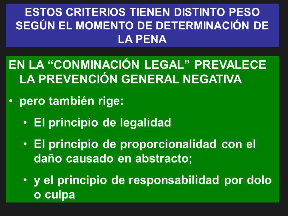 EN LA CONMINACIÓN LEGAL PREVALECE LA PREVENCIÓN GENERAL NEGATIVA