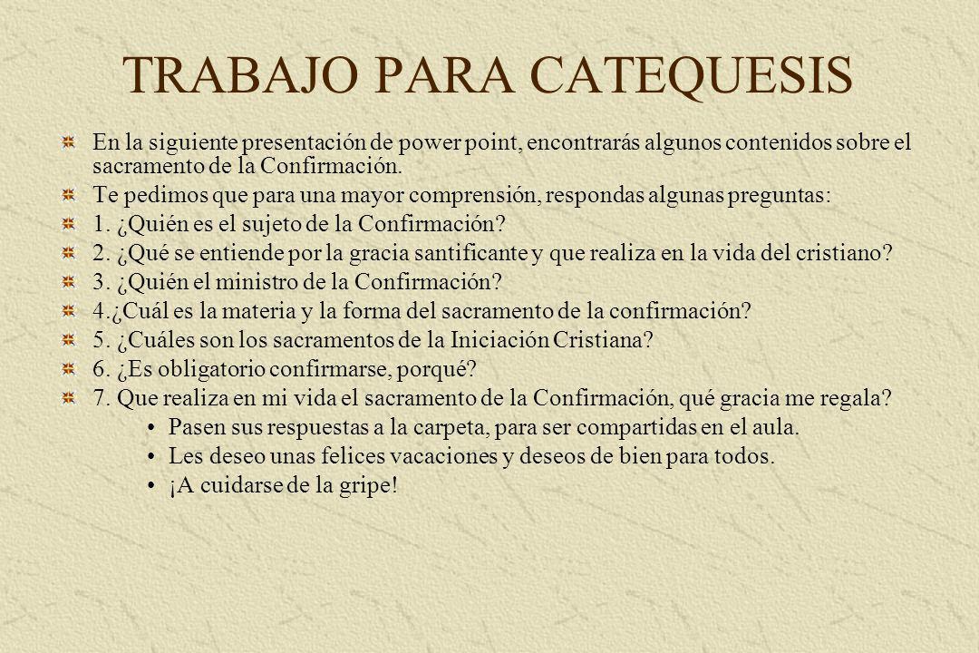 TRABAJO PARA CATEQUESIS