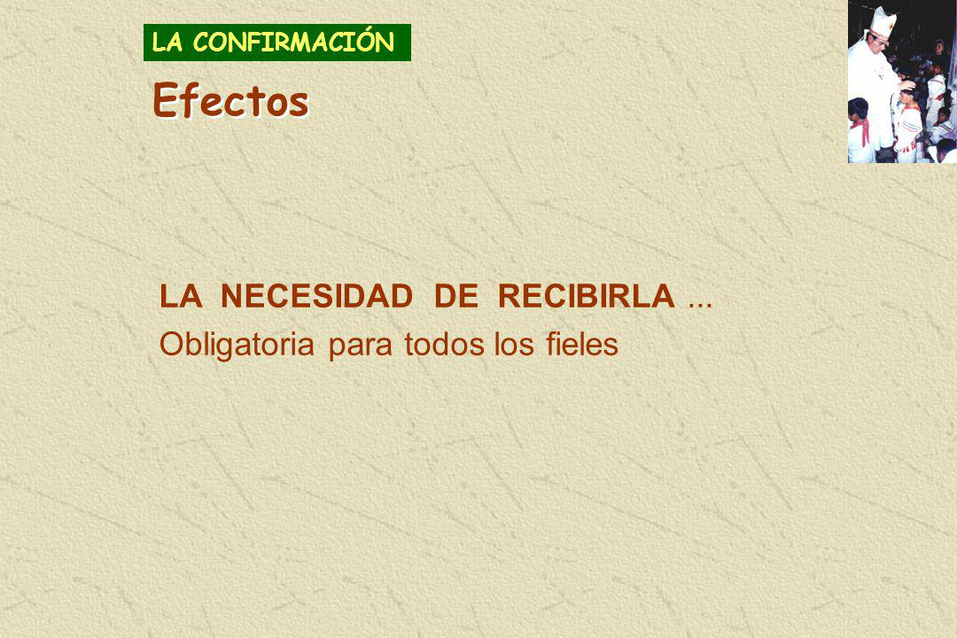 Efectos LA NECESIDAD DE RECIBIRLA ...