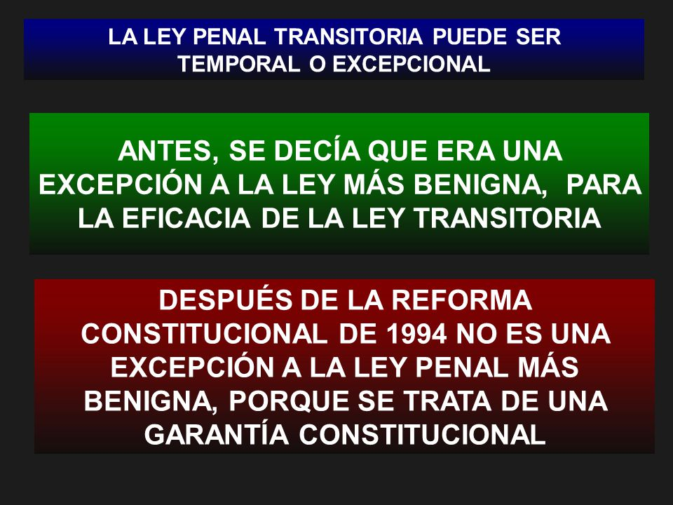 LA LEY PENAL TRANSITORIA PUEDE SER TEMPORAL O EXCEPCIONAL