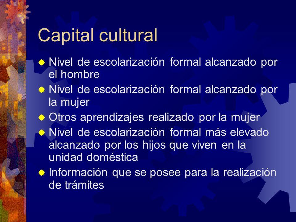 Capital cultural Nivel de escolarización formal alcanzado por el hombre. Nivel de escolarización formal alcanzado por la mujer.