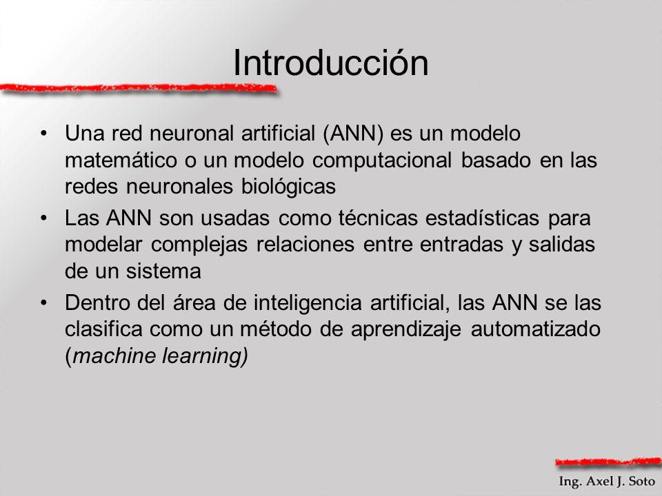 Introducción Una red neuronal artificial (ANN) es un modelo matemático o un modelo computacional basado en las redes neuronales biológicas.