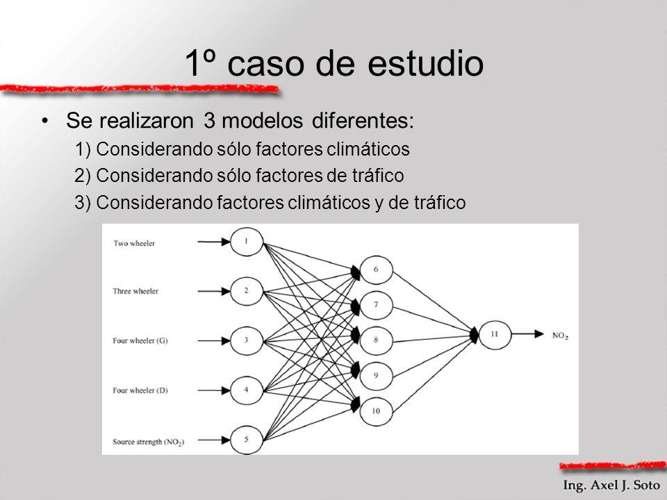 1º caso de estudio Se realizaron 3 modelos diferentes: