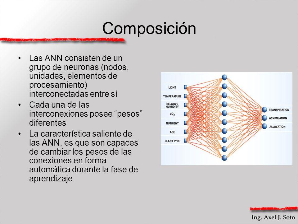 Composición Las ANN consisten de un grupo de neuronas (nodos, unidades, elementos de procesamiento) interconectadas entre sí.