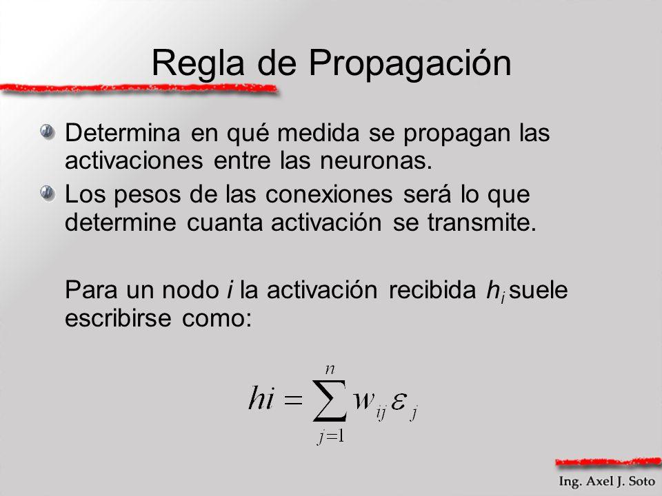 Regla de Propagación Determina en qué medida se propagan las activaciones entre las neuronas.