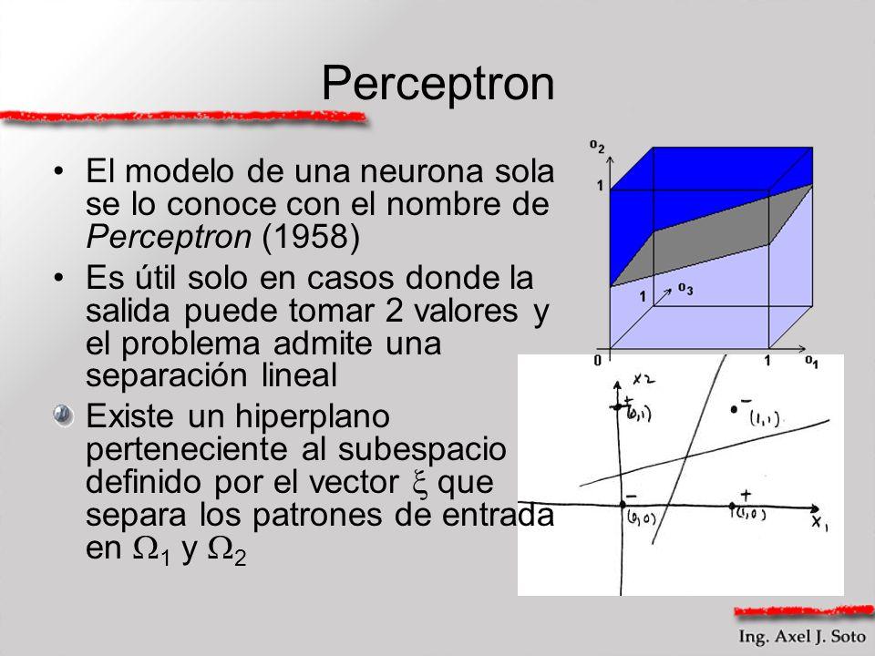 Perceptron El modelo de una neurona sola se lo conoce con el nombre de Perceptron (1958)