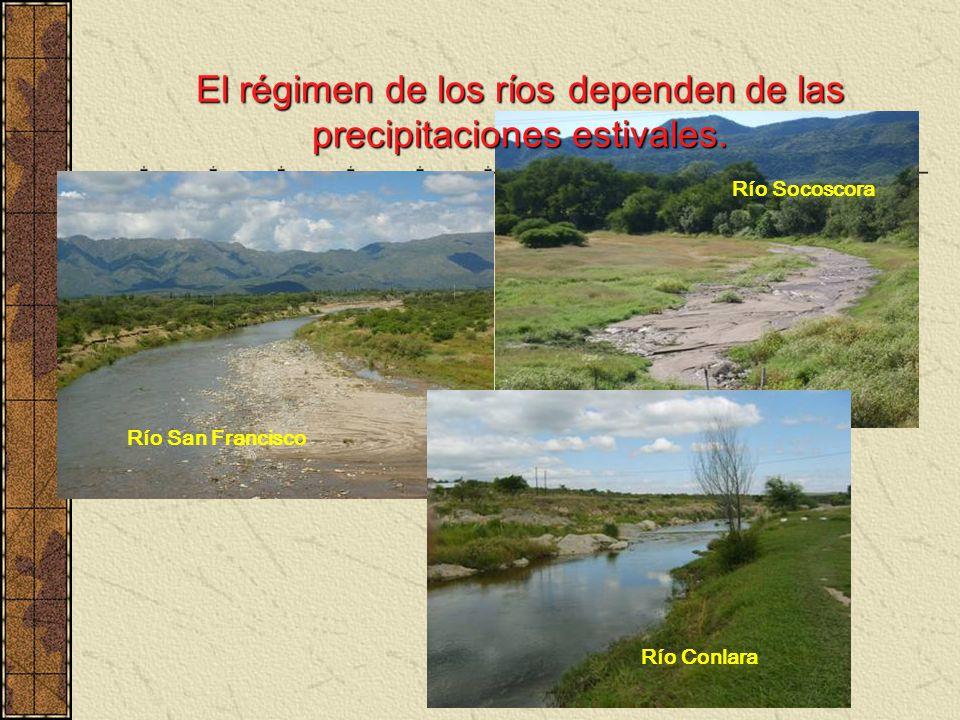 El régimen de los ríos dependen de las precipitaciones estivales.