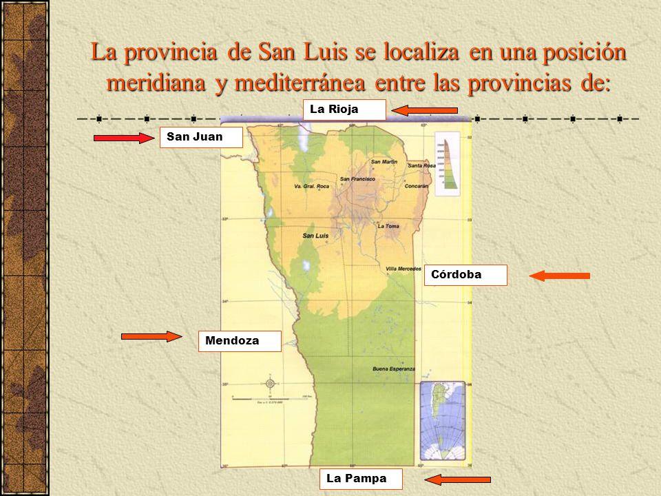 La provincia de San Luis se localiza en una posición meridiana y mediterránea entre las provincias de: