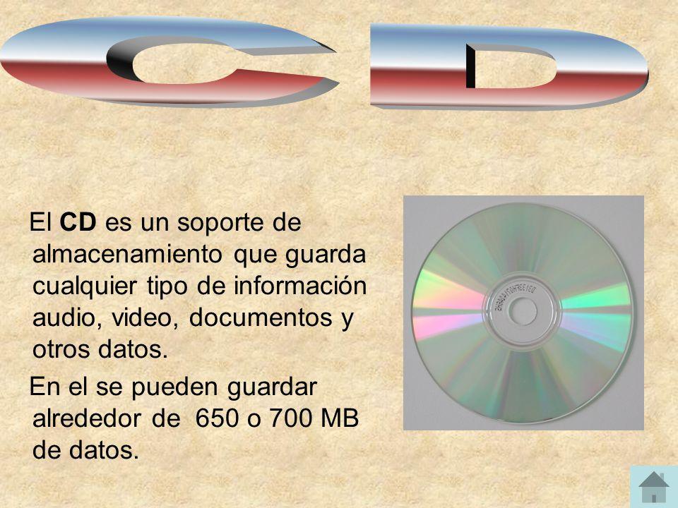 CD El CD es un soporte de almacenamiento que guarda cualquier tipo de información audio, video, documentos y otros datos.