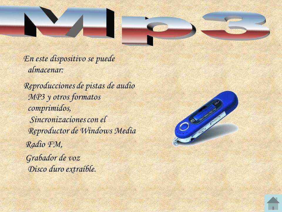 Mp3 En este dispositivo se puede almacenar: