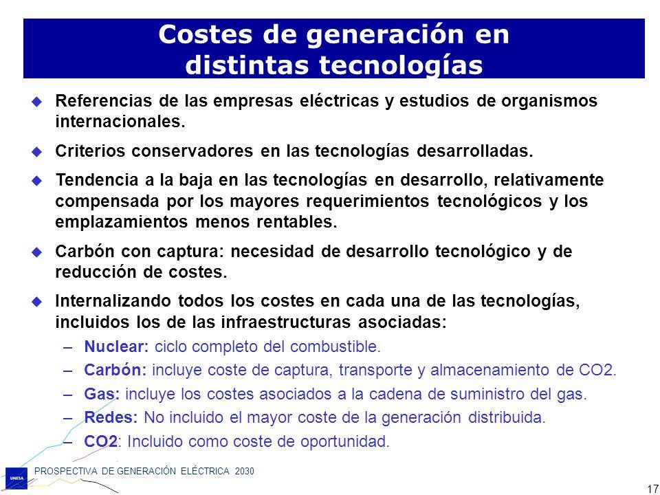 Costes de generación en distintas tecnologías