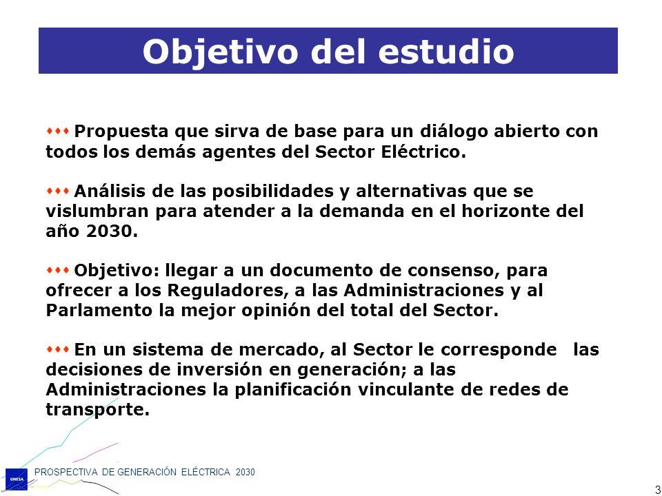 Objetivo del estudio  Propuesta que sirva de base para un diálogo abierto con todos los demás agentes del Sector Eléctrico.