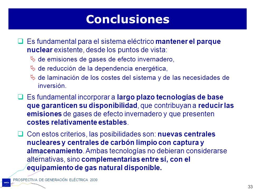 Conclusiones Es fundamental para el sistema eléctrico mantener el parque nuclear existente, desde los puntos de vista: