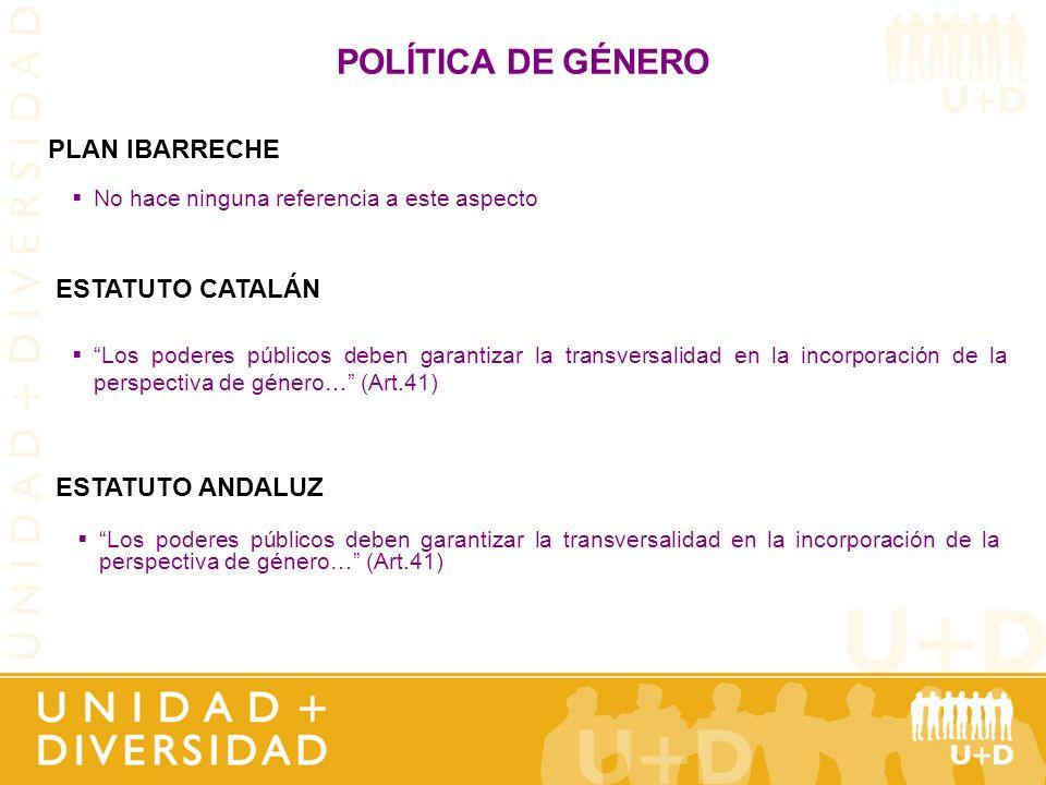 POLÍTICA DE GÉNERO PLAN IBARRECHE ESTATUTO CATALÁN ESTATUTO ANDALUZ