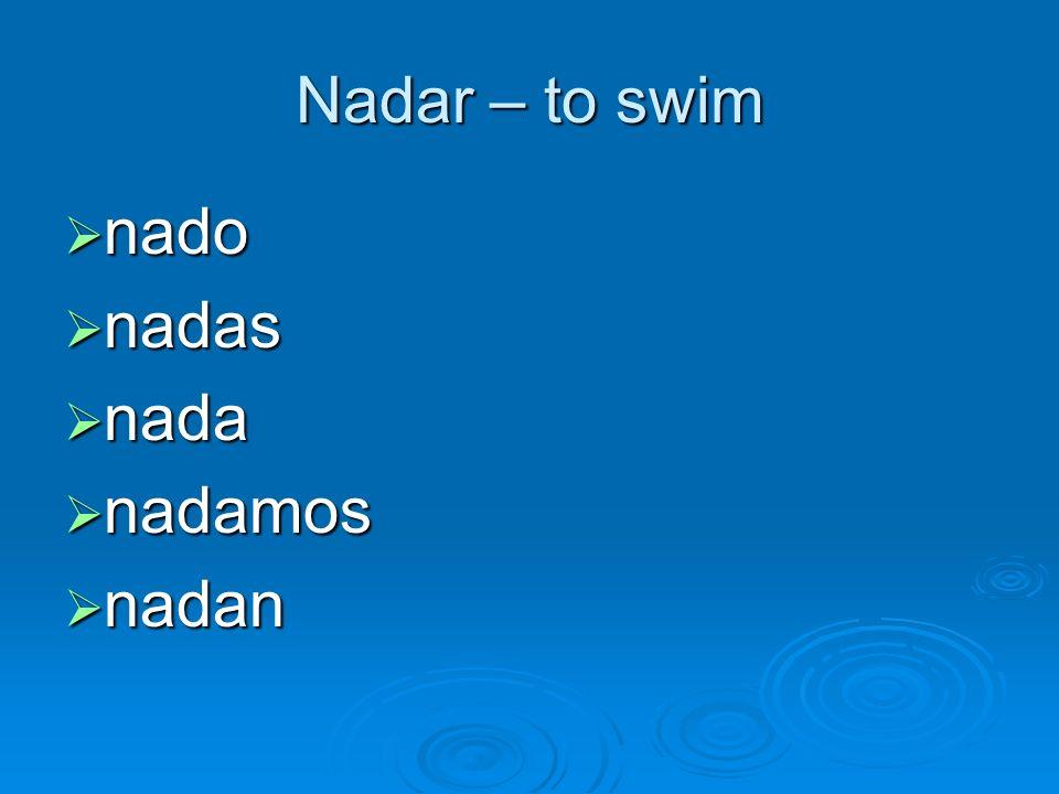 Nadar – to swim nado nadas nada nadamos nadan