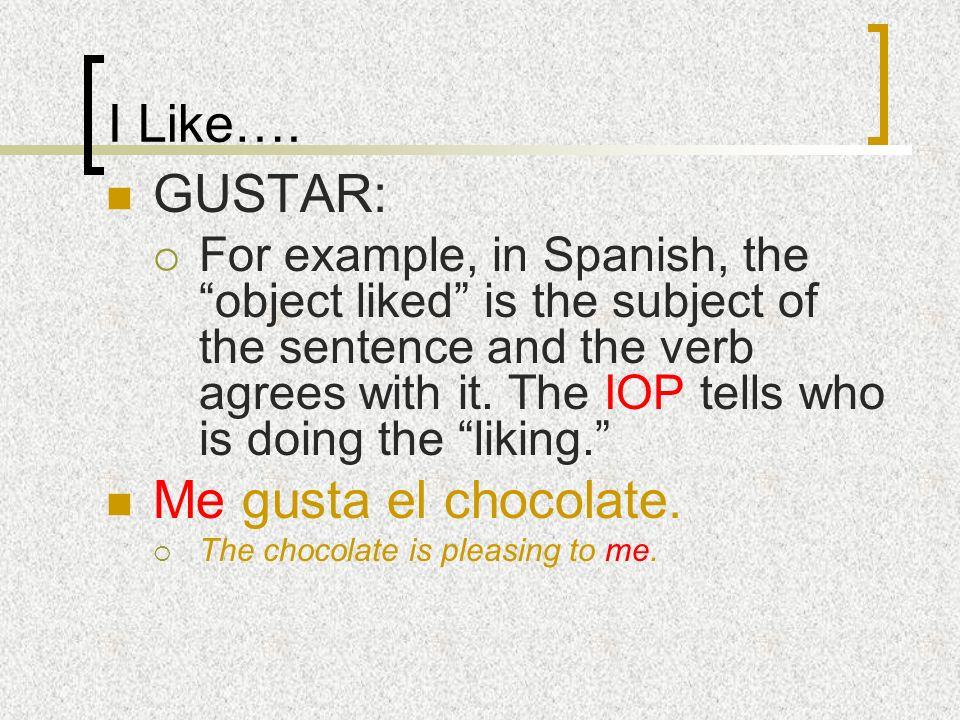 I Like…. GUSTAR: Me gusta el chocolate.