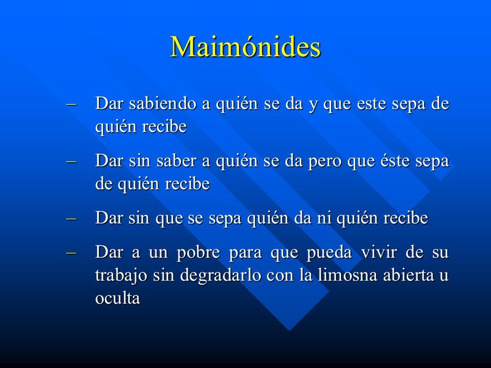 Maimónides Dar sabiendo a quién se da y que este sepa de quién recibe