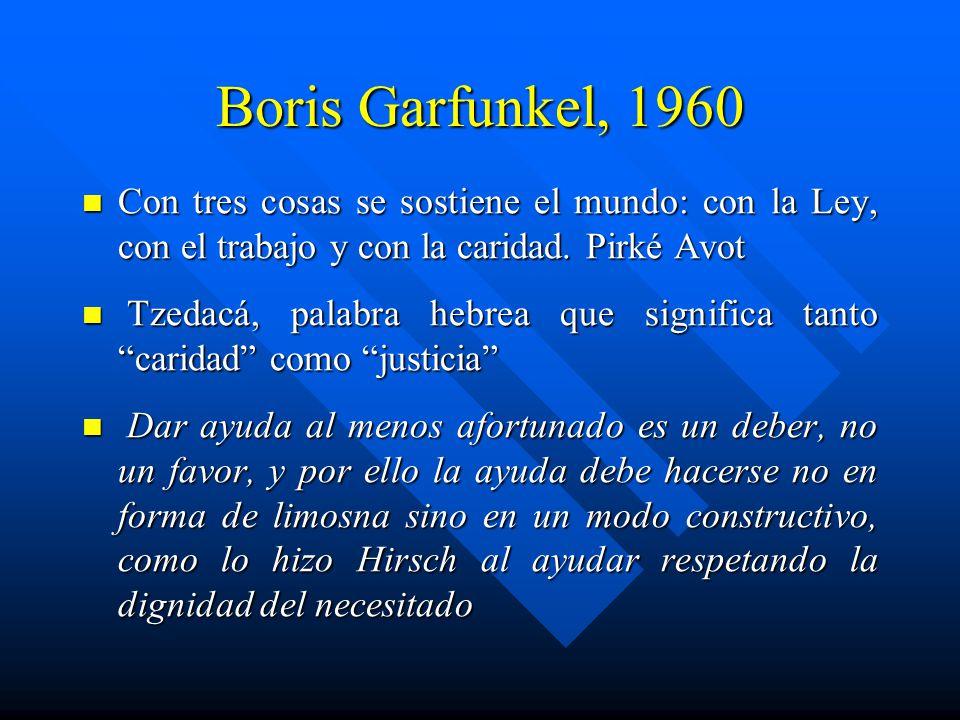 Boris Garfunkel, 1960 Con tres cosas se sostiene el mundo: con la Ley, con el trabajo y con la caridad. Pirké Avot.
