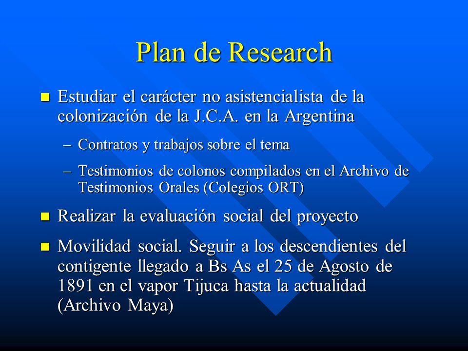 Plan de Research Estudiar el carácter no asistencialista de la colonización de la J.C.A. en la Argentina.