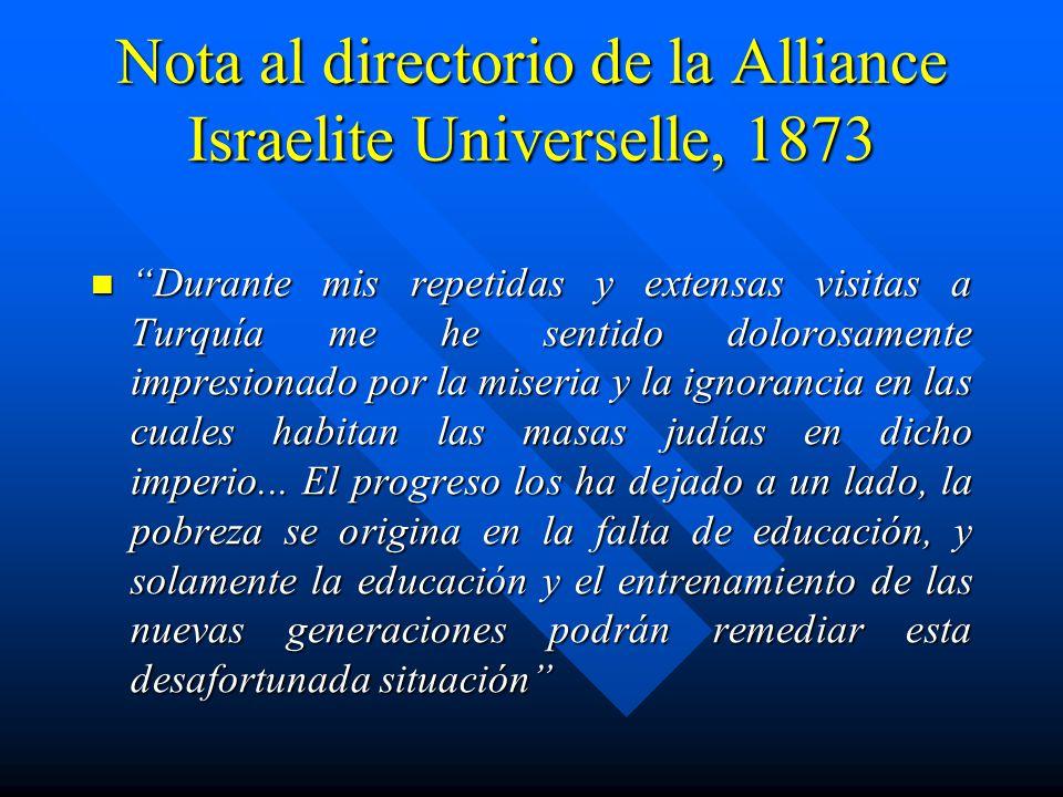 Nota al directorio de la Alliance Israelite Universelle, 1873