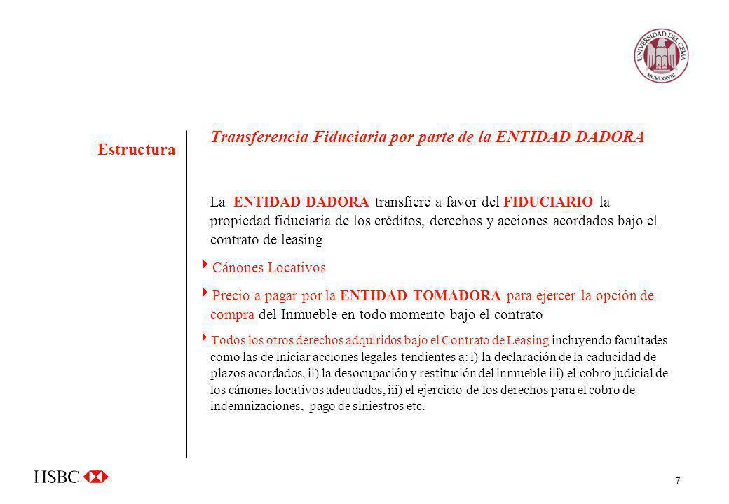 Transferencia Fiduciaria por parte de la ENTIDAD DADORA