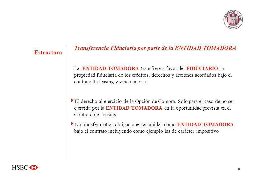 Transferencia Fiduciaria por parte de la ENTIDAD TOMADORA